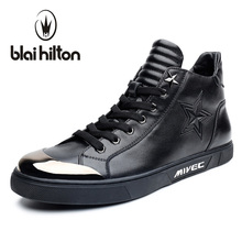 Blaibilton Pentagram Embossing Fashion Mens Shoes Casual High Top Quality Luxury 100% Genuine Leather Men Shoes Designer SD6200