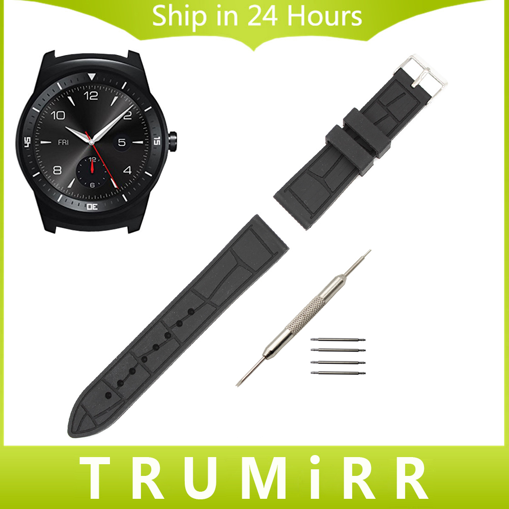 22mm Silicone Rubber Watch Band + Tool for LG G Watch W100 / R W110 / Urbane W150  Replacement Strap Wrist Band Bracelet Black часы lg watch urbane w150 silver