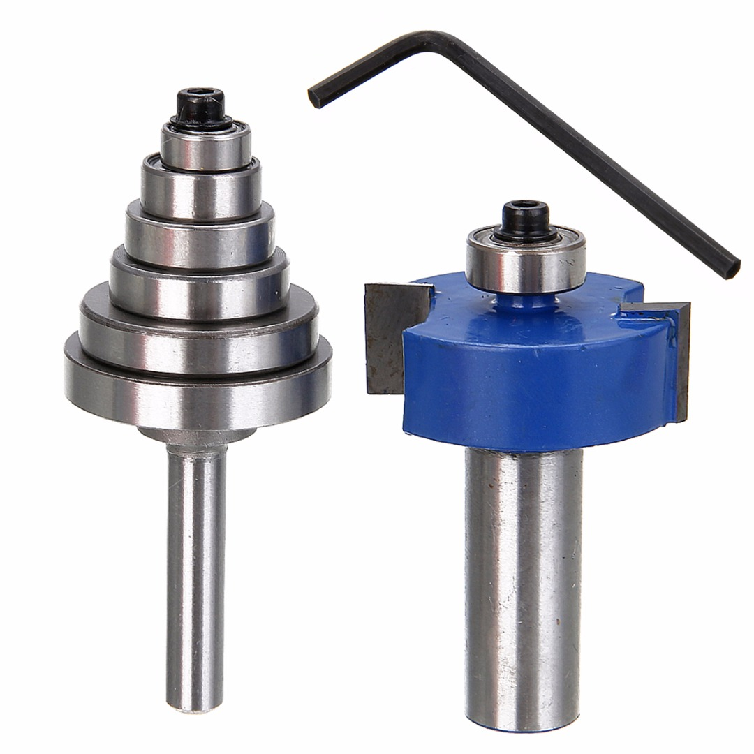 New 1/2'' Shank Carbide Rabbet Router Bit Milling Tool with 6 Bearings Set For Woodworking Tool 1pc 1 4 shank cemented rabbet carbide router bit with 6 bearing for woodworking cutter power tool