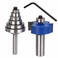 New 1 2 Shank Carbide Rabbet Router Bit Milling Tool With 6 Bearings Set For Woodworking