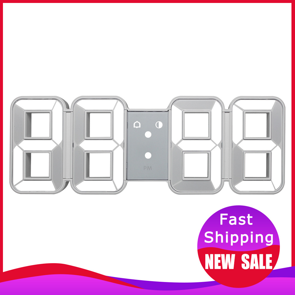 Time Large LED Digital Wall Clock Alarm Date Temperature Automatic Backlight Table Desk Watch Home Decoration Stand hang Clocks(China)