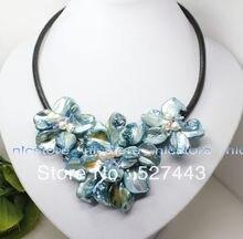 Venta al por mayor envío gratis >> 18 pulgadas azul madre de pearl shell blanco perla colgante collar de flores