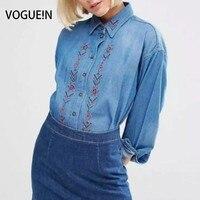 VOGUE! N Mulheres Bordado Floral Azul Denim Calça Jeans Blusa Tops Lapela Botão Baixo Camisa Atacado Tamanho SML