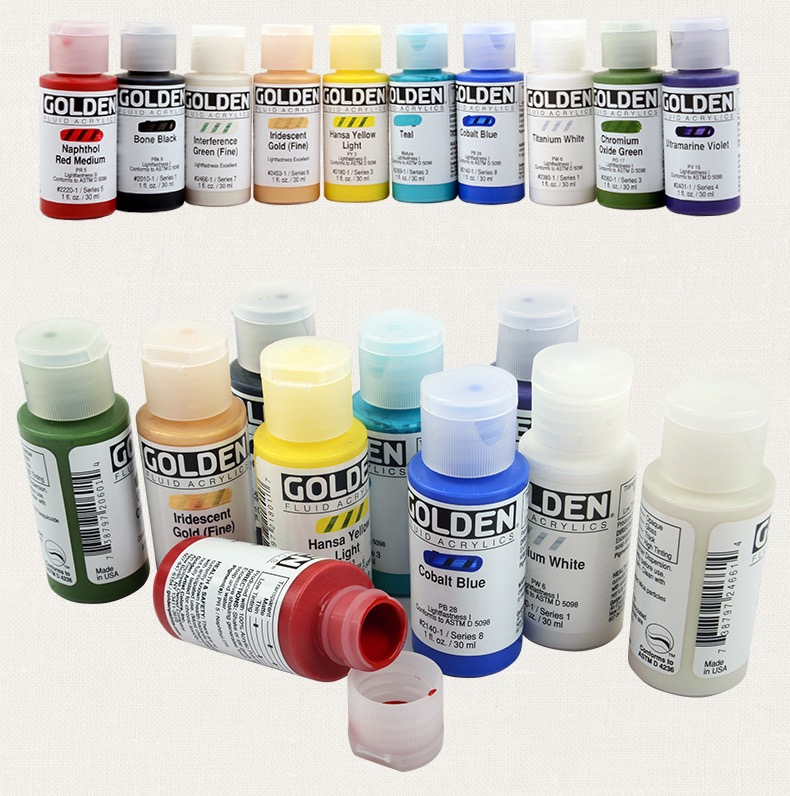 Golden Fluid Acrylic Paint 1 Ounce (30ml) For Dry Brush Application, Fine Details, Pouring, Spraying, Staining Etc, 1 Bottle