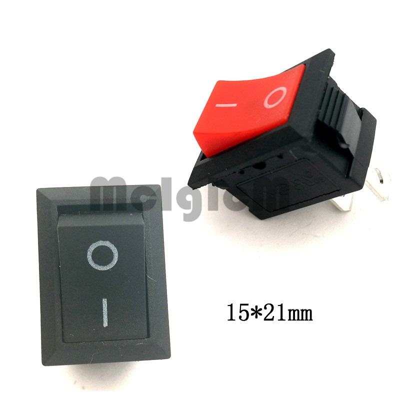 Mini Boat Rocker Switch 2 Pin on-off switch 6A 250V AC / 10A 125V AC 15*21MM I/O SPST Snap Switches Black and Red 10 pcs red 2 pin spst off on n o round momentary push botton switch 1a 250v ac