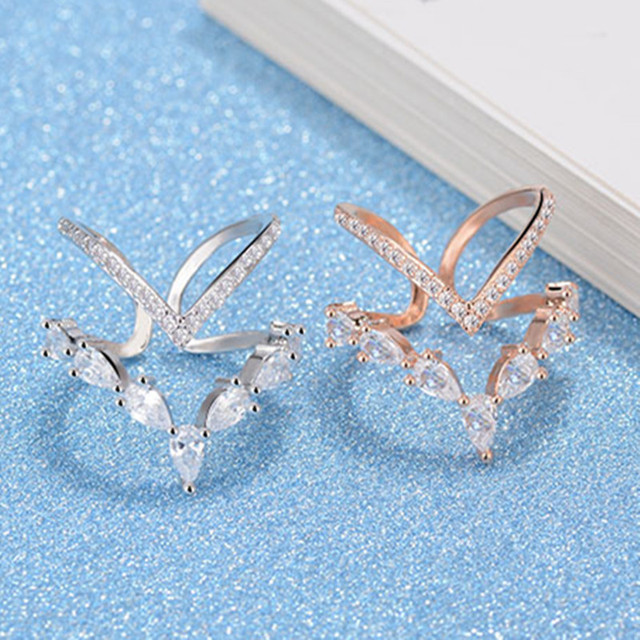 H:HYDE Fashion Lover Heart Crystal Finger Rings For Women Bijoux Cubic Zircon Rose Gold Color Opening Ring Jewelry Wedding Gift