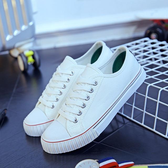 Пара Ботинок Холстины Школьников на шнурках Дышащие Мужчин и Женщин Повседневная Обувь Размер 35-44