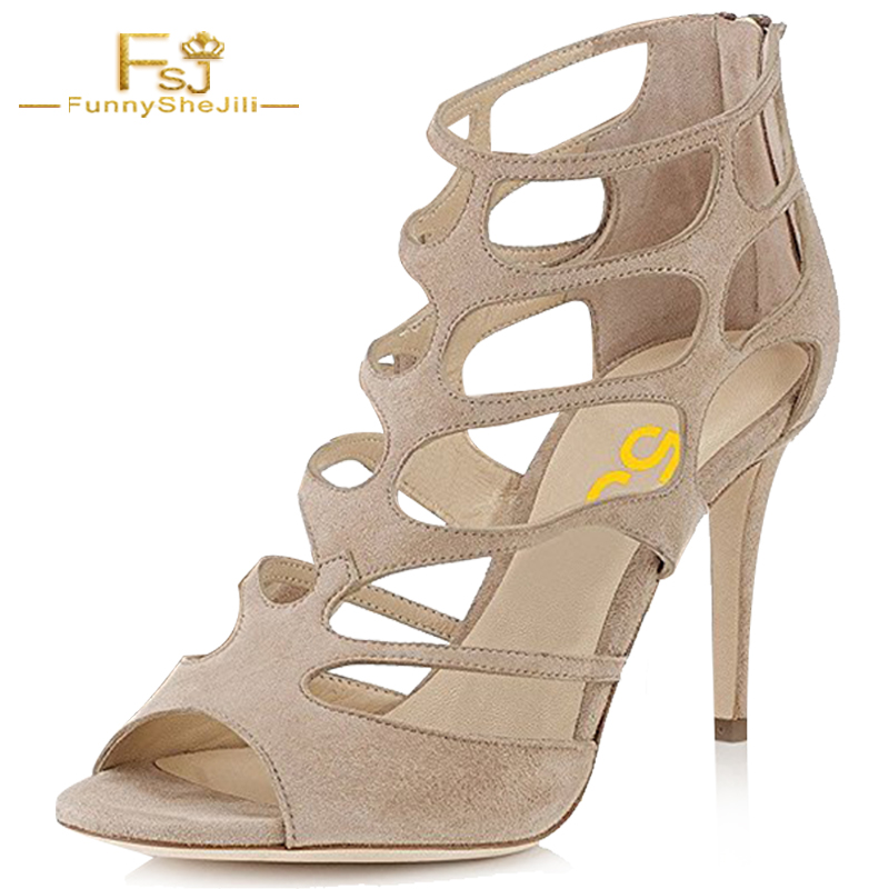 Summer Nude Flock Women Caged Dress Sandals Chic Peep Toe Roman Style Shoes Cutout Strappy High Heels 3.9 Inchs FSJ Size 11 women shoes summer women sandals 2017 peep toe gold silver roman sandals shoes platform brand creepers woman sandalias size 43