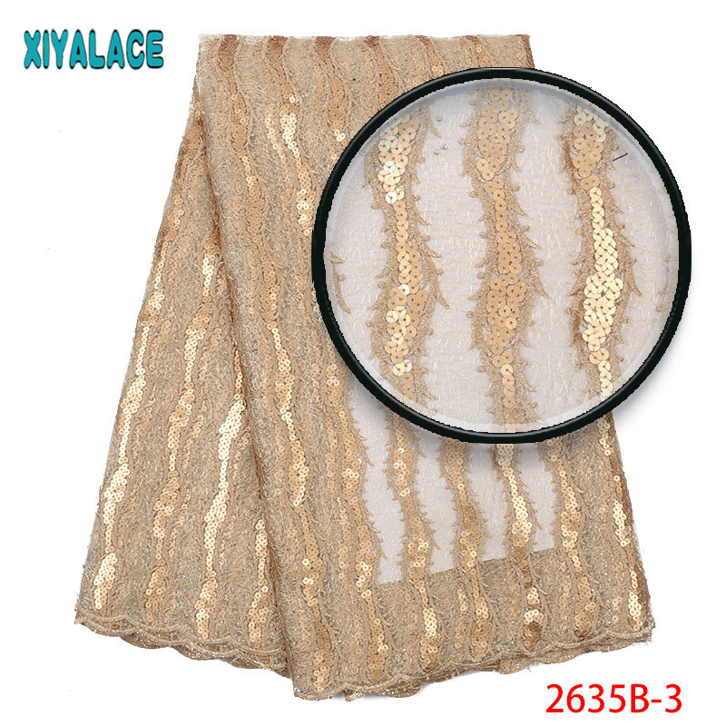 Latest french lace fabric 2019 gold sequins lace fabric embroidery tulle lace fabrice for african wedding