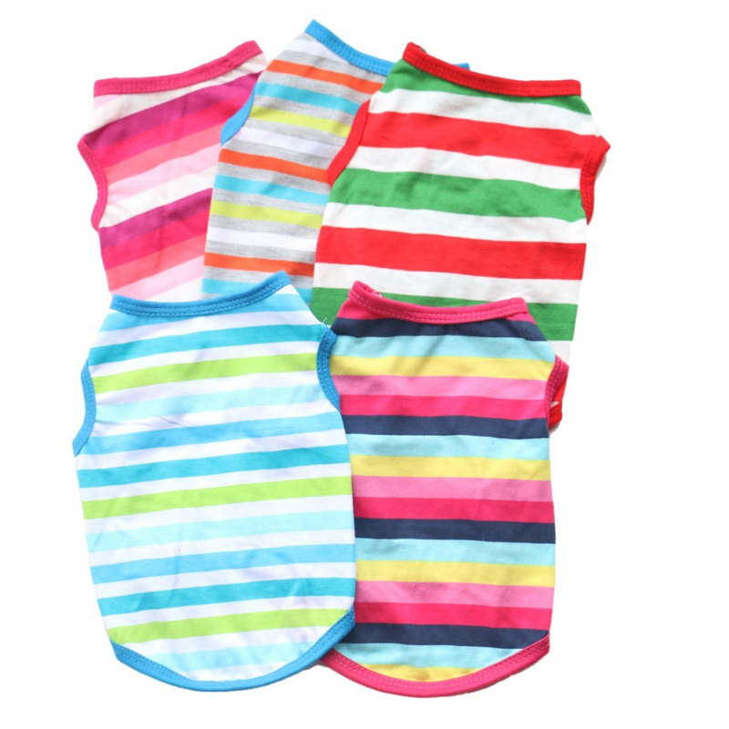 Striped Cute Pet Dog Clothes Cartoon Dog Cat T-shirt Soft Puppy Dogs Clothing Summer Shirt Casual Vests For Small Dogs Pets