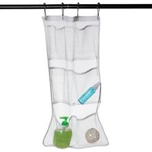 6 Pocket Bathroom Tub Shower Quick Dry Hanging Shower Curtain Rod / Liner Hooks Mesh YH-460193