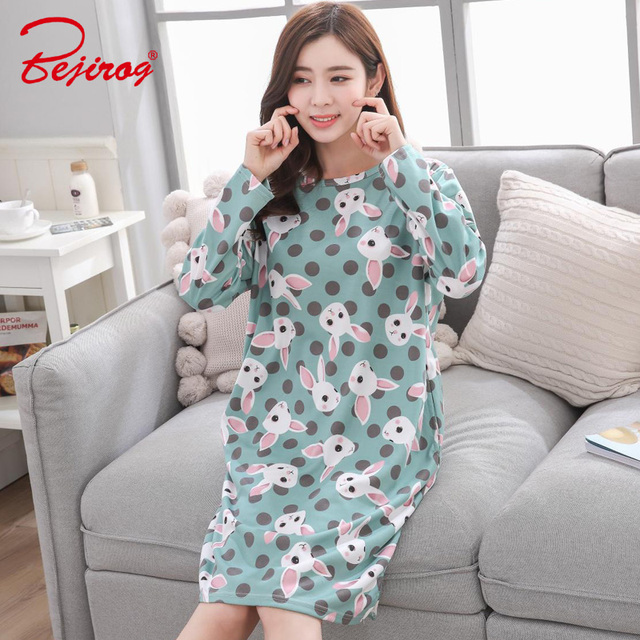 Bejirog women nightwear 2018 plus size Nightgown female sleepshirt milk  silk sleepwear sleep clothing autumn long sleeve pijamas 16cf26bbf