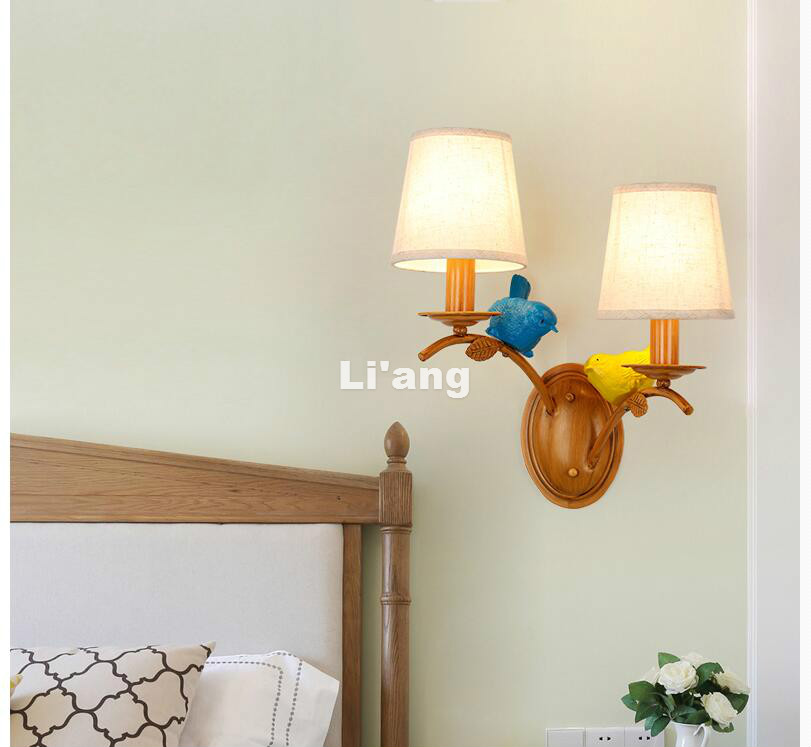 Nordic Wooden Color Bird Nordic Vintage Lamps Wall Bedroom Light Bedside Lamp With E27 LED Bulb Wall Light For Home Decorations smart bulb e27 7w led bulb energy saving lamp color changeable smart bulb led lighting for iphone android home bedroom lighitng
