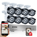 ZOSI HD-TVI 8CH 1080P 2.0MP Security Cameras System 8*1080P 2000TVL Day Night Vision CCTV Home Security 2TB HDD