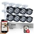 Zosi hd-tvi 8ch 1080 p sistema de segurança câmeras de 2.0mp 8*1080 p 2000tvl day night vision cctv casa de segurança 2 tb hdd