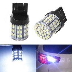Luz de freio automotivo t20, luz traseira branca para reserva, w21w 7443 1206 64smd, dc 12v
