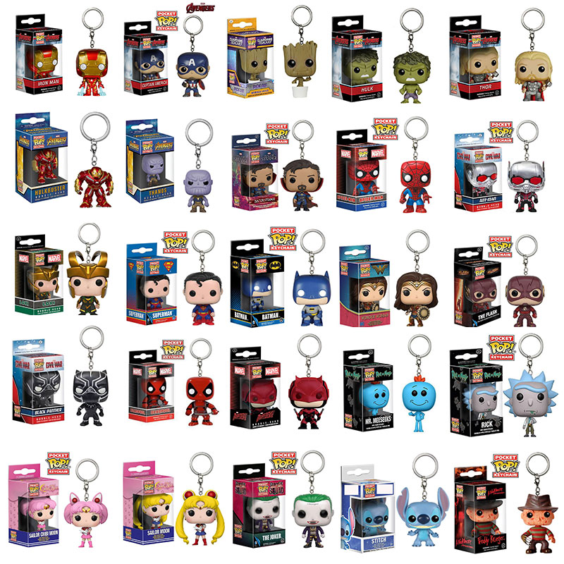 FUNKO POP The Marvel Keychain Iron Man Hulk Captain America Thanos Grout Stitch Pop Funko Action Figure Model Pvc Key Chains tiki pop america imagines its own polynesian paradise