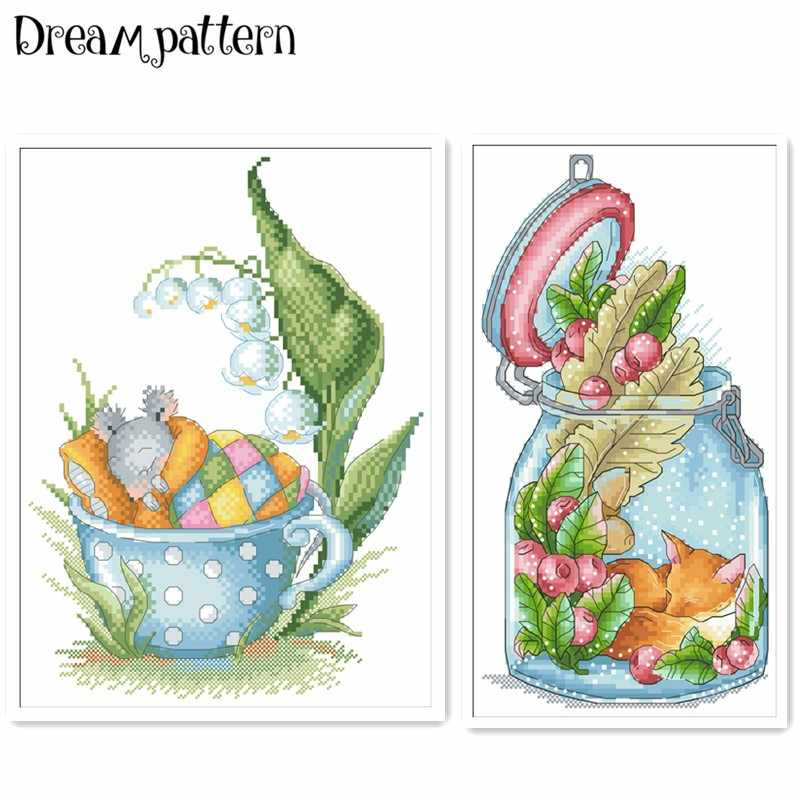 Sleeping in teacup cross stitch package cartoon moiuse fox 18ct 14ct 11ct cloth cotton thread embroidery DIY handmade needlework