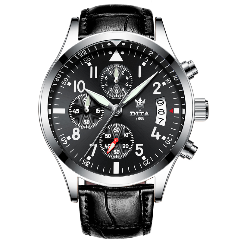 DITA Men Business Fashion Watches Geniune leather belt Watch Men Chronograph Quartz Military Wristwatch Waterproof relogi