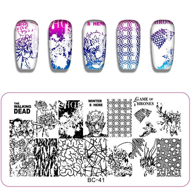 Schönheit & Gesundheit Platte Schablone Für Nägel Kunst Schnelle WäRmeableitung Humor 1 Pc Nail Art Stanzen Halloween Muster Tier Schädel Design Rechteck Vorlage Nagel