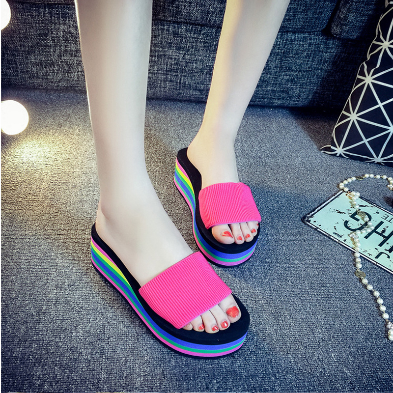 2017 Summer Woman Wedge Platform Shoes Fashion Ladies Slippers Big Size Flip Flop Chaussure Femme Beach Sandals Slide Z716 woman shoes flip flops sandals foam zapatos mujer ladies shoe summer wedge high heels bohemia beach flip flop casual sapatos new