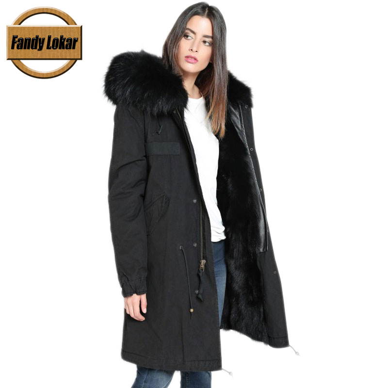 Solid Long Warm Raccoon Fur Collar Coat Women Winter Real Fox Fur Liner Hooded Jacket Women Bomber Parka Female Ladies 2017 winter new clothes to overcome the coat of women in the long reed rabbit hair fur fur coat fox raccoon fur collar