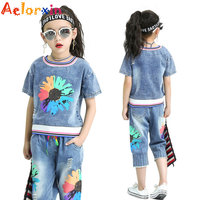 Children's Clothing 2018 Summer Girl Casual Jeans Sports Set Girls Summer Flowers Short sleeve+pant 2pcs Girls Clothing Set 5 12