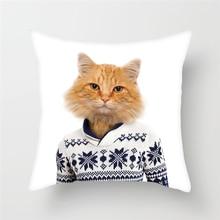 Fuwatacchi Cushion Cover Home Decorative Pillows Animals Car Sofa Throw Pillows Cat Dog Tiger Giraffe Print Custom Pillowcase cat print pillowcase cover