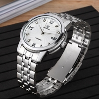 OYW Automatic Self Wind Mens Male Watches Relogio Masculino White Dial Full Steel Band Dress Waterproof Hombre Wristwatch Gifts