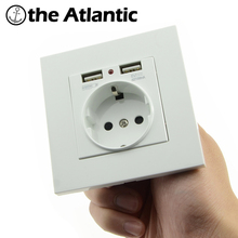 2017 new Wall Socket Power 16A EU Standard Outlet With 2A Dual USB Charger Port for Mobile Phone