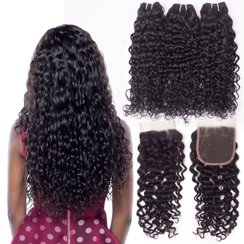 Image 2 - lanqi Peruvian hair bundles with closure nonremy human hair weave bundles with closure Brazilian water wave bundles with closure-in 3/4 Bundles with Closure from Hair Extensions & Wigs