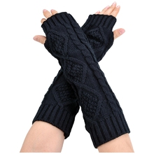 Womens Cashmere Protection Knitted Wool Long Fingerless Arm Warmers Gloves black