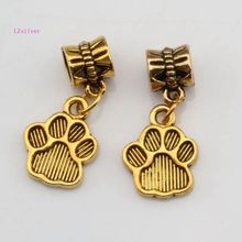 MIC 15 pcs Antique Gold Tone Paw Print Charm With lobster clasp Fit Bracelets DIY Jewelry 12x29 mm ( nm303)
