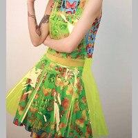 Bling baby zangeres ds kostuum neon transparante plastic expansie bodem bretels pvc jurk