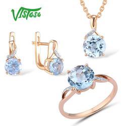 VISTOSO Sieraden Set Voor Vrouw Pure 14K 585 Rose Gold Sparkling Sky Blue Topaz Diamond Oorbellen Ring Hanger Set fijne Sieraden