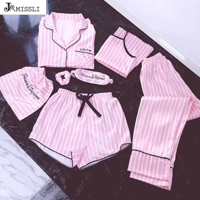 Women's 7 Pieces Pink Pajamas Sets Satin Silk Lingerie Homewear Sleepwear Pyjamas Set Pijamas For Woman