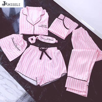 JRMISSLI brand women's 7 pieces Pink pajamas sets satin silk lingerie homewear sleepwear pyjamas set pijamas for woman