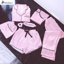 JRMISSLI Sexy Lingerie Pyjamas-Set Sleepwear Satin Silk Pink 7pieces Woman