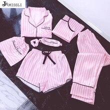 Jrmissli pijamas femininos, conjunto de 7 peças de pijamas rosa, cetim, seda, lingerie sexy, roupas de dormir para casa