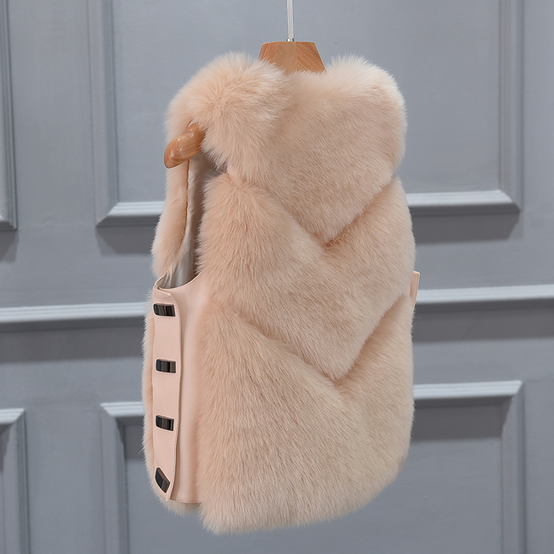 gris Fur Chaqueta Coat Faux Las Chaleco verde Señoras Nueva rosado Cintura Invierno Para Negro 2019 Piel De Abrigo Moda Mujeres Militar caqui qptTxPA