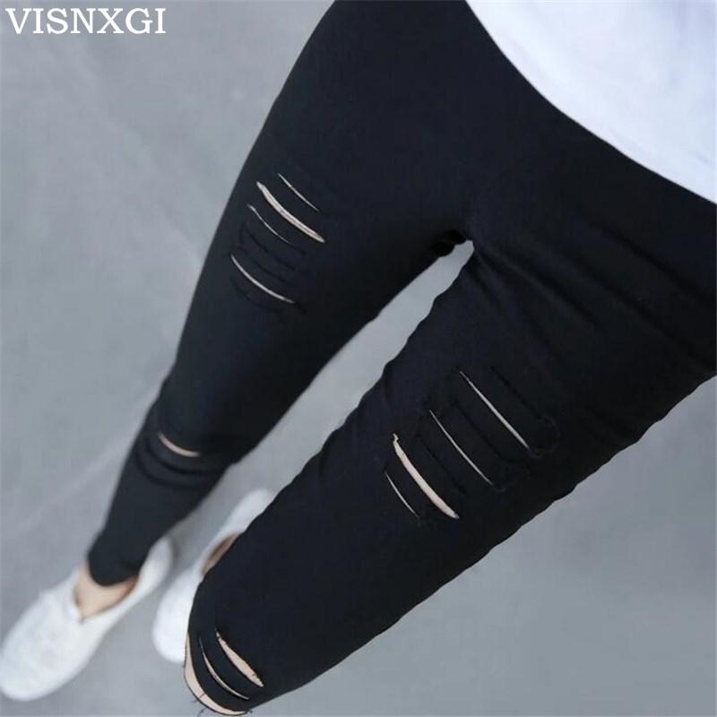 VISNXGI Summer Style White Hole Torn Leggings Women's Pants High Waist Femme For Women Skinny Black Casual Pants High Quality