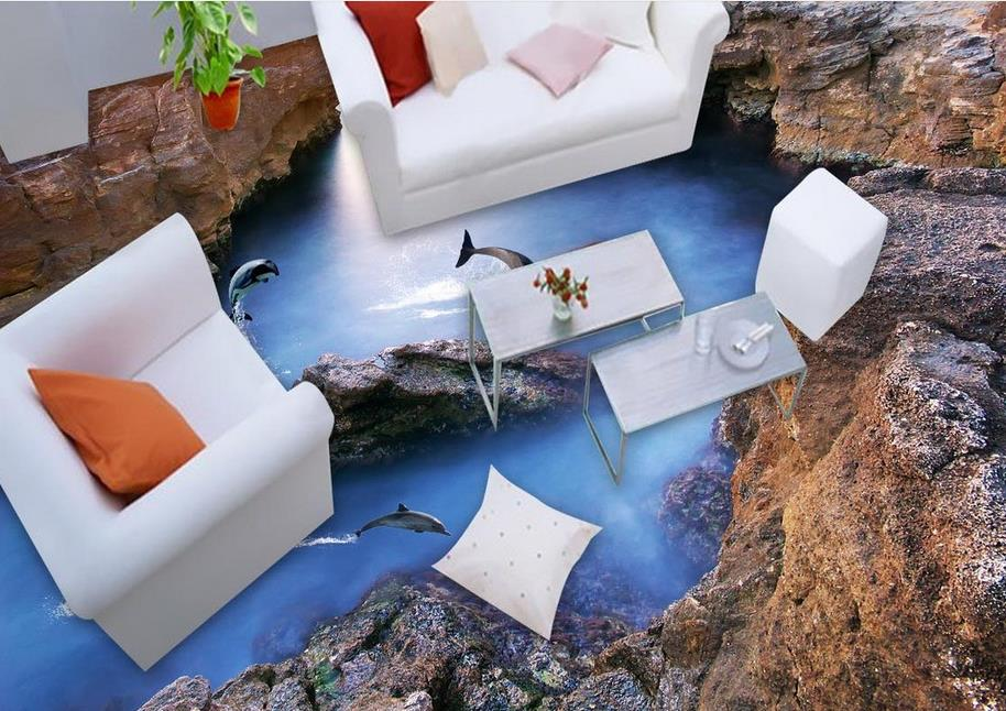 ФОТО 3d flooring self-adhesive wallpaper custom stereoscopic 3d waterproof wallpaper Dolphin Reef 3d floor tiles for living room