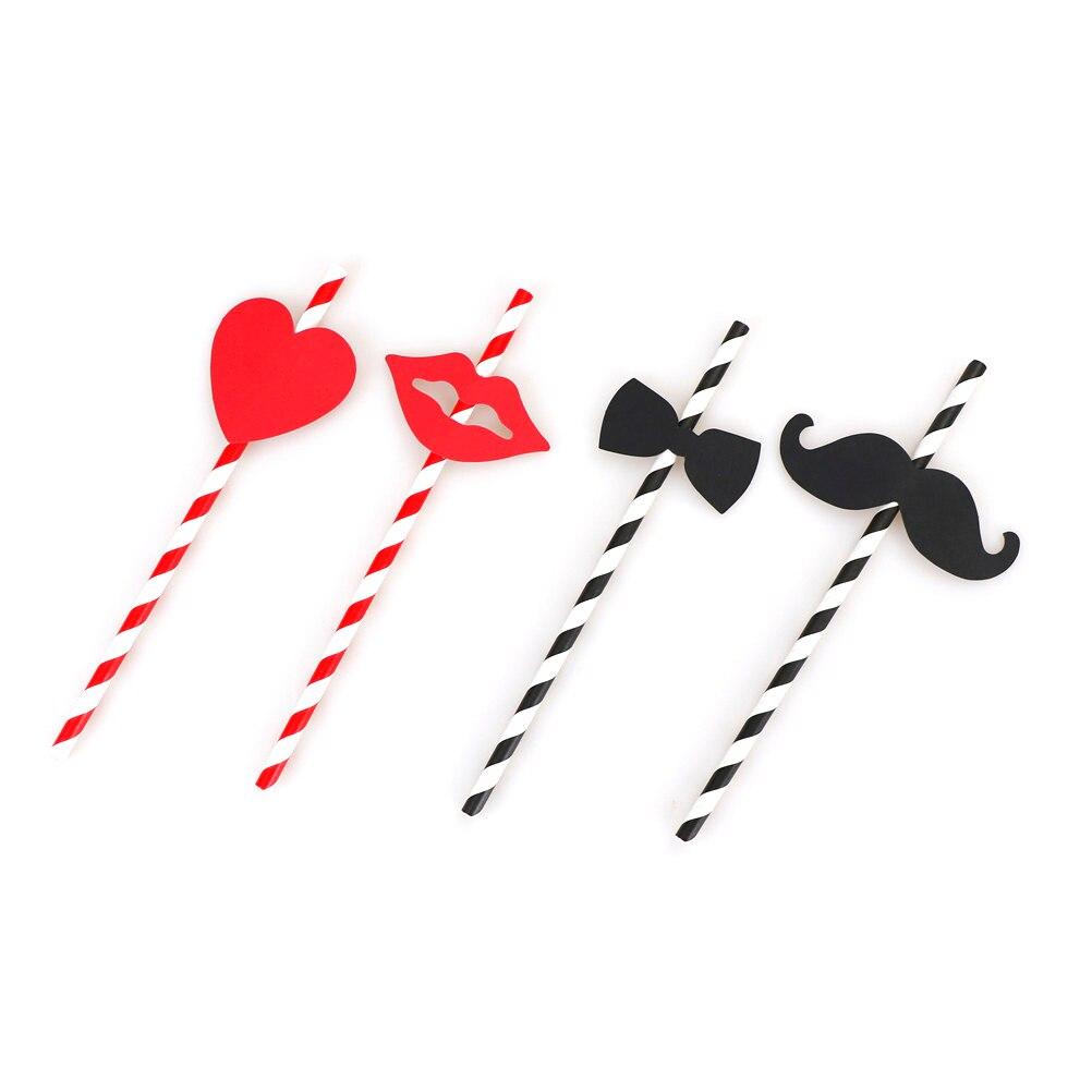 10 יחידות שפתיים זקן שחור קש נייר שתיית קש יפה אדום פסים לב Bow מדבקה עבור מסיבת חתונת אספקה חגיגית דקור