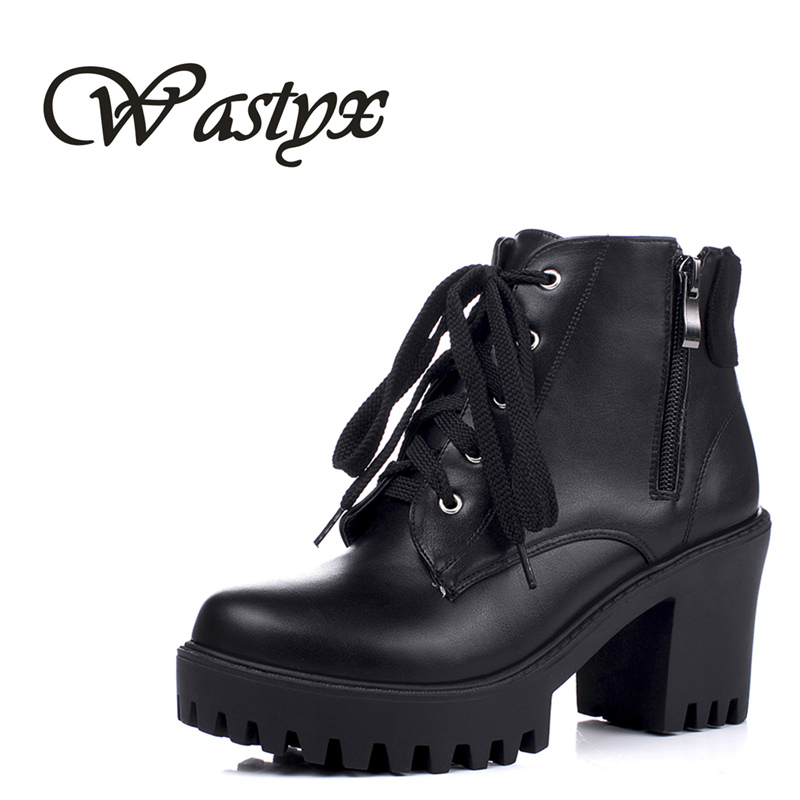 New Lace-Up Women Boots Fashion Platform punk high square heels Black Buckle Ankle boots autumn winter casual boots Size 34-43 стоимость