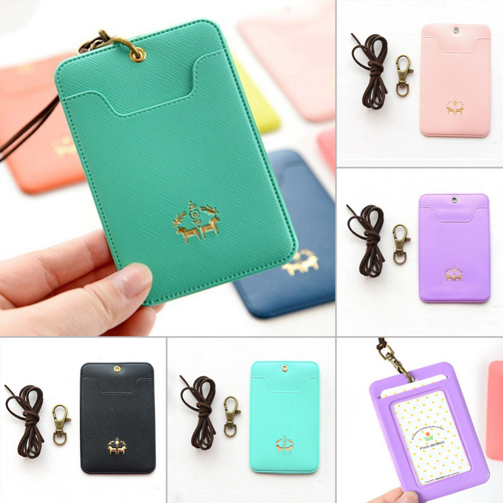 Men Women Card Package PU Leather Bus Card Package School Students Portable String Fashion ID Bus Card Packages with Lanyard цена