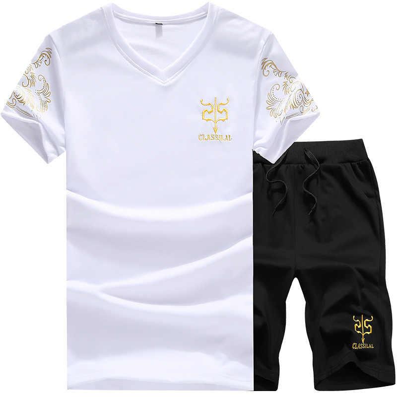 夏セットメンズショーツカジュアルスーツスポーツウェアクロップ 2019 メンズ服セット tシャツトップ + ショーツ男性トレーナーパーカー少年