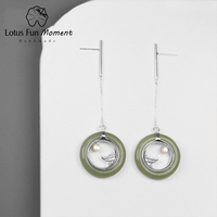 Lotus Fun Moment Real 925 Sterling Silver Fashion Jewelry Classic Oriental Element Moonlight Design Drop Earrings for Women