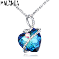 MALANDA Brand 2017 Fashion Classic Heart Necklaces Crystal From Swarovski Metal Wedding Pendant Necklaces For Women