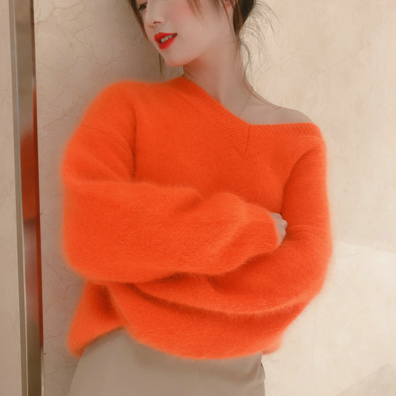 New long wool mink cashmere sweater loose long sleeve knitted V neck bottom shirt free delivery