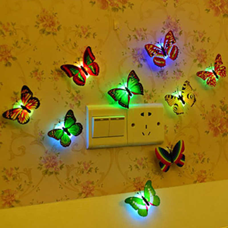 10pcs/lot Butterfly Wall Sticker Night Light Color Light For Kitchen Bedroom Living Kid Room Easy Installation New Home Decor